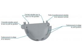 Fond symétrique gouttière à coller 25 PVC Gris