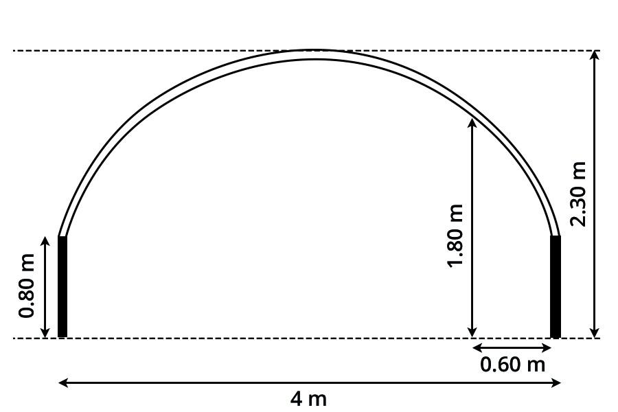 Serre tunnel pro 4 m pied droit