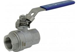 Full flow 2-piece stainless steel valve