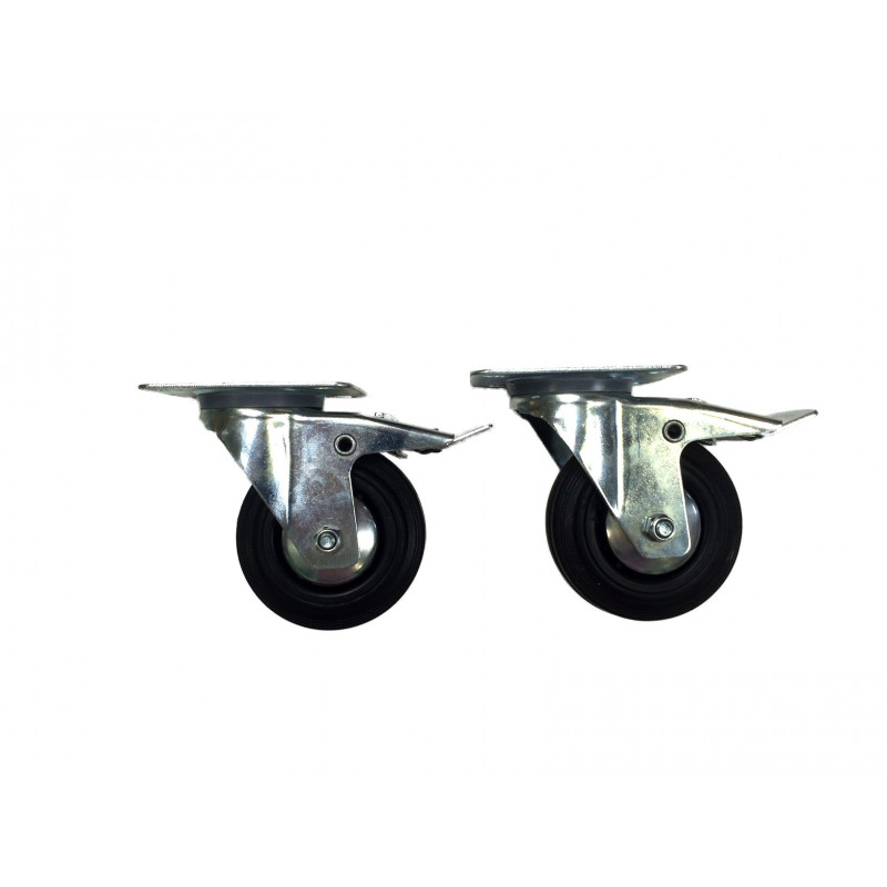 Set of two Ø100 mm wheels with brakes