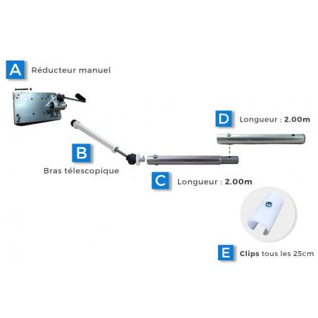 Enroulement acier Ø32 avec Réducteur + bras télescopique