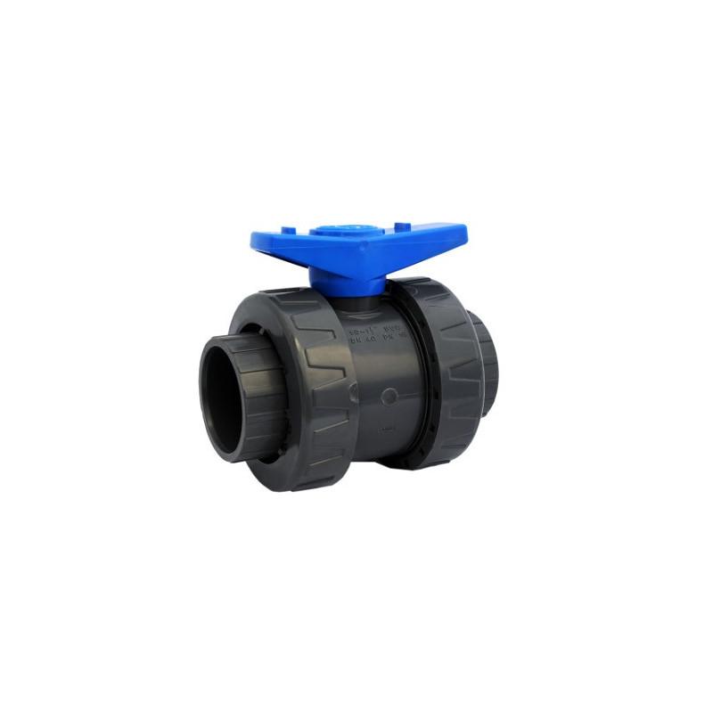 F/F double true union 1/4 turn PVC valve