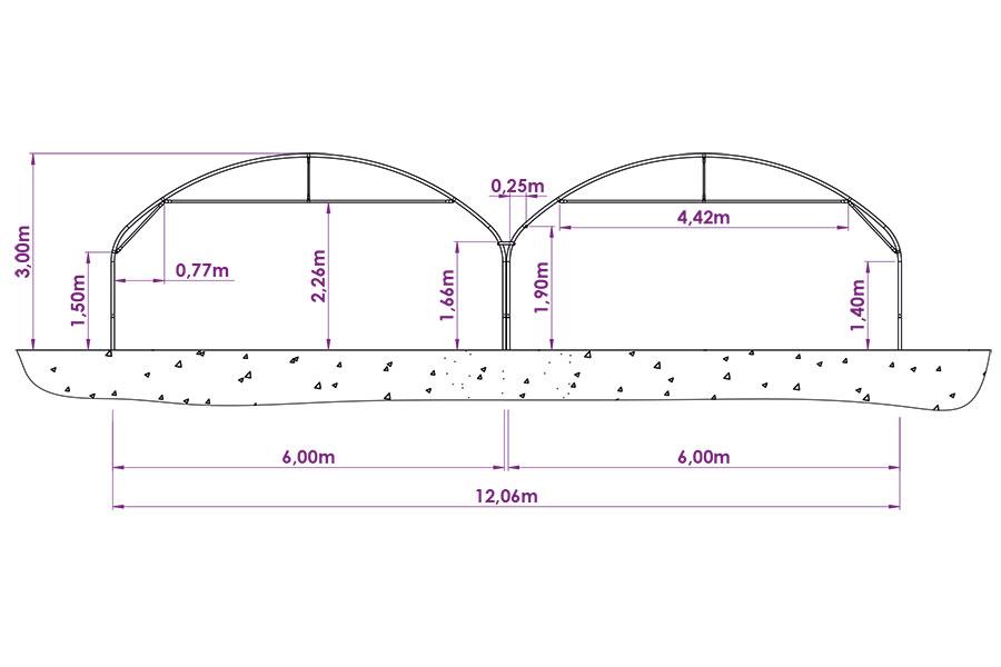 Schéma Bi-tunnel jumelé 6m