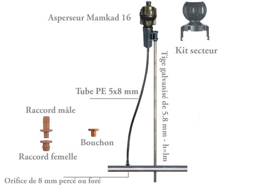 Piquet métal pour système d'aspersion