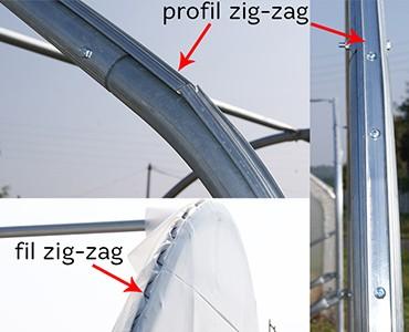 Profil zig zag serre de jardin Saumuroise