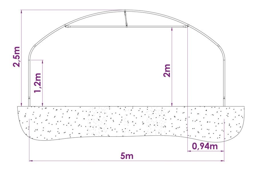 Serre tunnel pro 5 m pied droit